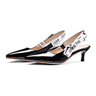 cheap Women's Heels-Women's Shoes Patent Leather Spring Fall Novelty Comfort Heels Low Heel Pointed Toe Buckle for Office & Career Dress White Black Pink