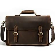 Men Bags Cowhide Satchel Zipper for Casual Office & Career All Seasons Dark Brown