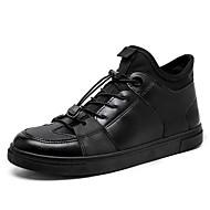 メンズ 靴 PUレザー 春 秋 コンフォートシューズ アスレチック・シューズ 編み上げ のために カジュアル ブラック シルバー