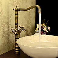 アンティーク クラシック センターセット 高品質 with  真鍮バルブ 二つのハンドルつの穴 for  アンティーク真鍮 , バスルームのシンクの蛇口