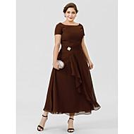 Γραμμή Α Πριγκίπισσα Bateau Neck Κάτω από το γόνατο Σιφόν Φόρεμα Μητέρας της Νύφης με Κρυστάλλινη καρφίτσα με LAN TING BRIDE®