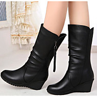 cheap Women's Boots-Women's Shoes Nappa Leather Winter Fall Fashion Boots Boots Flat Heel Booties/Ankle Boots Mid-Calf Boots for Casual Black