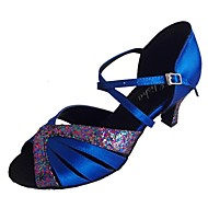 baratos Sapatilhas de Dança-Mulheres Sapatos de Dança Latina Glitter / Cetim Sandália Salto Personalizado Sapatos de Dança Fúcsia / Azul marinho / Interior