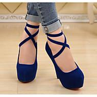 baratos Sapatos Femininos-Mulheres Sapatos Pele Nobuck Primavera / Outono Plataforma Básica Saltos Salto Agulha Preto / Azul Escuro / Vermelho