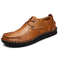 Masculino sapatos Courino Primavera Outono Conforto Oxfords Cadarço Para Casual Preto Marron Vinho