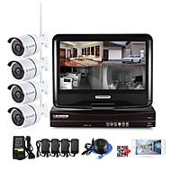 10.1 Inch 4CH Wireless NVR Kits 4pcs 1.0MP 720P Waterproof IR Night Vision Security IP Camera WIFI Surveillance CCTV System