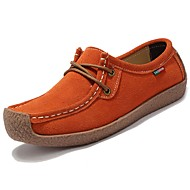cheap Women's Sneakers-Women's Shoes Nubuck leather Suede Winter Comfort Moccasin Loafers & Slip-Ons Round Toe for Casual Orange Yellow Brown Red Blue