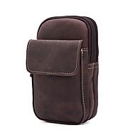 Unissex Bolsas Todas as Estações Couro de Gado Bolsa de Cintura Ziper para Casual Marron Escuro