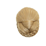 Chignon Bun Clips Braids Synthetic Blonde Color Straight Hair Extensions For Women