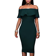 Women's Off Shoulder Party Holiday Petal Sleeves Bodycon Dress - Solid Colored Ruffle Boat Neck Summer Red Navy Blue Wine L XL XXL / Slim