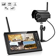 billige Trådløst CCTV System-7 tommers tft digitale 2,4g trådløse kameraer lydvideo baby monitorer 4ch quad dvr sikkerhetssystem med ir natt lys kameraer