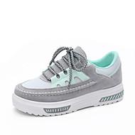 Damen Schuhe Vlies Stoff Frühling Sommer Komfort Sneakers Flacher Absatz Runde Zehe Spitze Für Normal Schwarz Grau Rosa
