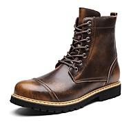 billige -Herrer Sko Ægte Læder Læder Vinter Snestøvler Modestøvler Motorcykel Støvler Støvle Fluff Foder Støvler Ankelstøvler Støvletter Snøring