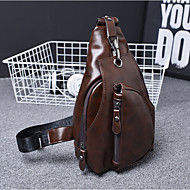 Men Bags PU Sling Shoulder Bag Zipper for All Seasons Black Brown Dark Brown