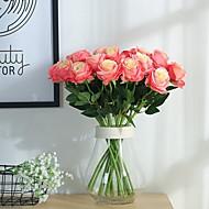 2 stk kunstig rose silke blomst blomst brudebuket til hjem bryllup indretning (pink)
