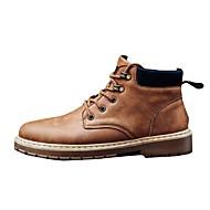 Herre sko Lær Vår Høst Kampstøvler Støvler Snøring Til Avslappet Svart Lysebrun Mørkebrun