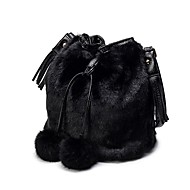 Women Bags All Seasons Velvet Fur Shoulder Bag Feathers / Fur for Black Gray Dark Brown Light Grey