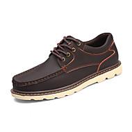 billige Sko i Store Størrelser-Herre sko Lær Vinter Høst Kampstøvler Treningssko Nagle Flettet bånd til Avslappet Svart Lysebrun Mørkebrun