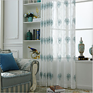Rod Pocket Grommet Top Tab Top Double Pleat Pencil Pleat Curtain European , Embroidery Embroidery Bedroom Material Sheer Curtains Shades