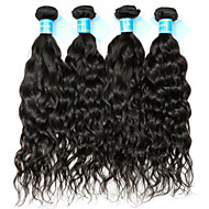 Remy Brazilian Natural Color Hair Weaves Water Wave Hair Extensions 4 Pieces Black