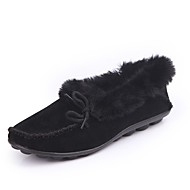 Women's Shoes Suede Fall Moccasin Loafers & Slip-Ons Flat Heel Round Toe Lace-up For Casual Khaki Green Black
