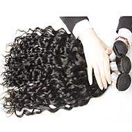 Virgem Cabelo Peruviano Cabelo Humano Ondulado Ondas Leves Extensões de cabelo 3 Peças Preto
