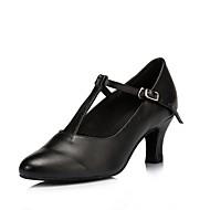 tanie -Damskie Taniec nowoczesny Real Leather Spektakl Klamra Kubański Black 7.5cm Personlaizowane