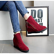 Women's Shoes Nubuck leather Cowhide Fall Winter Fashion Boots Boots Chunky Heel Booties/Ankle Boots For Casual Red Gray Black