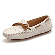 Women's Shoes Cowhide Spring Fall Moccasin Boat Shoes For Casual Khaki Fuchsia White