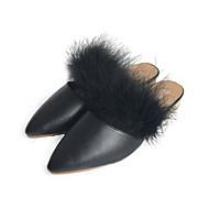 レディース 靴 PUレザー 春 夏 コンフォートシューズ ヒール ローヒール ポインテッドトゥ ベックル 用途 カジュアル ドレスシューズ ブラック ライトブラウン