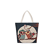 baratos Bolsas Tote-Mulheres Bolsas Tela de pintura Tote Ziper Branco / Preto / Café