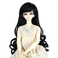 Naisten Synteettiset peruukit Suojuksettomat Pitkä Kihara Jet Black Doll Wig Rooliasu peruukki