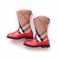 女の子 靴 PUレザー 秋 ファッションブーツ ブーツ ミドルブーツ 用途 カジュアル ブラック レッド