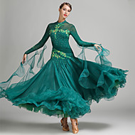 cheap Dancewear & Dance Shoes-Ballroom Dance Dresses Women's Performance Spandex Tulle Milk Fiber Appliques Crystals / Rhinestones Long Sleeves Natural Dress