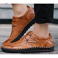 Masculino sapatos Pele Primavera Outono Conforto Oxfords Para Casual Preto Amarelo Claro Vinho