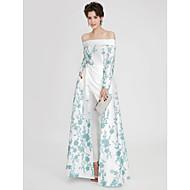 Linha A Ombro a Ombro Longo Cetim Evento Formal Vestido com Bordado Pregas de TS Couture®