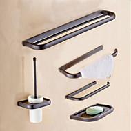 Kylpyhuonetarvikesetti Pyyhetangon Pyyheripustimen Wc-paperitelineen Saippuakupin Wc-harjatelineen Seinään asennettu