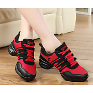 cheap Dance Sneakers-Women's Dance Sneakers Tulle Heel Practice Black/Gold Black/Red Red/White