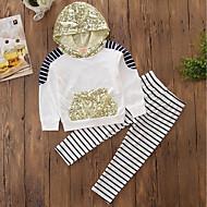 Baby Pige Stribet / Pænt tøj Stribe / Broderi Langærmet Bomuld Tøjsæt