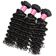 זול -לא מעובד שיער פרואני גל עמוק תוספות שיער 3pcs שחור