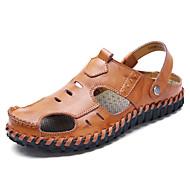 Masculino sapatos Couro Ecológico Primavera Outono Conforto Sandálias Para Casual Preto Marron