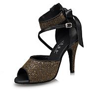 Χαμηλού Κόστους Παπούτσια χορού-Γυναικεία Λάτιν Δέρμα Δίχτυ Τακούνια Εσωτερικό Αγκράφα Ψηλοτάκουνο Μαύρο Εξατομικευμένο