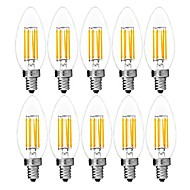 cheap LED Bulbs-10pcs 6W 560 lm E14 LED Filament Bulbs C35 6 leds COB Decorative Warm White Cold White AC 220-240V