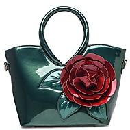 baratos Bolsas Tote-Mulheres Bolsas Couro Envernizado Tote Flor Verde Escuro / Fúcsia / Azul Céu