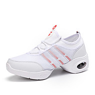 "Women's Dance Sneakers Tulle Sneaker Practice Flat Heel White Black 1"" - 1 3/4"""