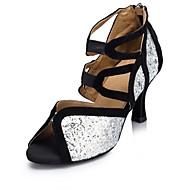 Dame Latin Glimtende Glitter Sandaler Opptreden Spenne Kubansk hæl Sølv/Svart 4 cm 6 cm 7,5 cm Kan spesialtilpasses
