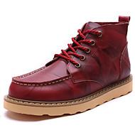 お買い得  紳士靴-男性用 靴 レザー 秋 / 冬 ブーティー / コンバットブーツ ブーツ ブーティー/アンクルブーツ ブラック / レッド