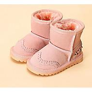 女の子 靴 レザー 秋 冬 スノーブーツ フラフライニング ブーツ 用途 カジュアル ダークブルー フクシャ ピンク キャメル