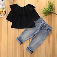 Pige Tøjsæt Ensfarvet Vintage, Bomuld Polyester Forår Efterår Langærmet Formelt Klassisk Stil Rejse Prinsesse Euro-Amerikansk T-shirt Sort