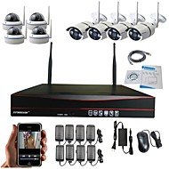 cheap Security & Safety-Strongshine® 8ch  WIFI NVR with 1.3Megapixel Wireless  IP Camera(4PCS Weatherproof  Bulit  Camera & 4PCS Dome Camera)CCTV Camera Security System Kit